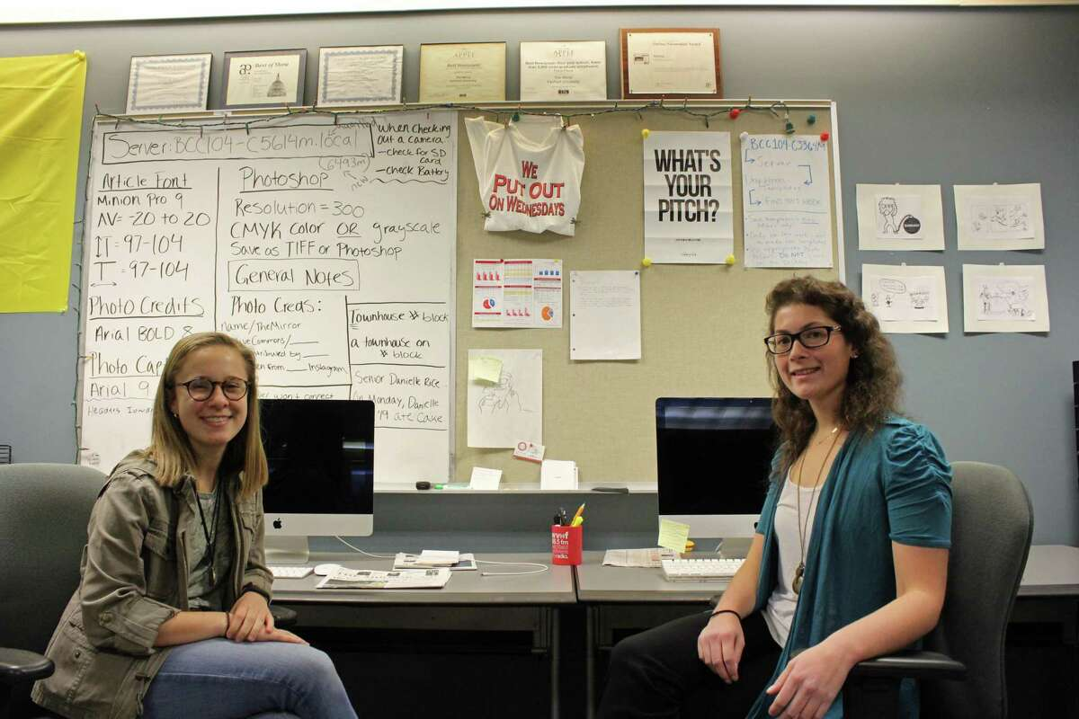 From left, editor-in-chief Ali Phaneuf and executive editor Cara Lee at The Mirror's office at Fairfield University.