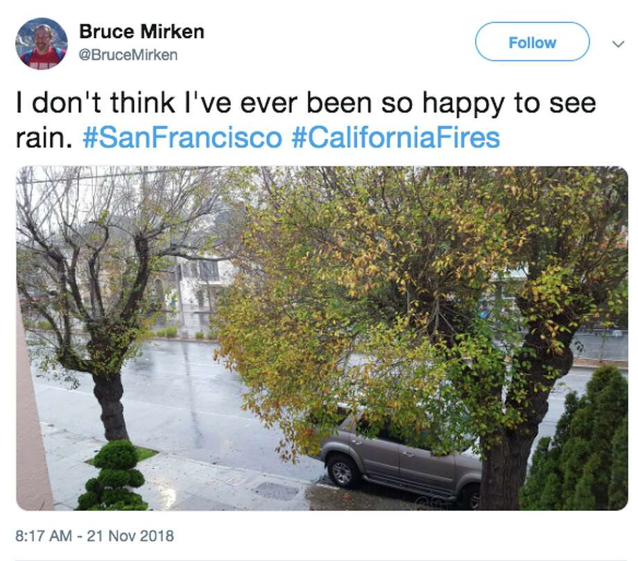 Northern California saw its first rain in seven weeks Wednesday morning, and when the drops began to fall, social media lit up with photos, videos and messages. Photo: Twitter Screen Grab
