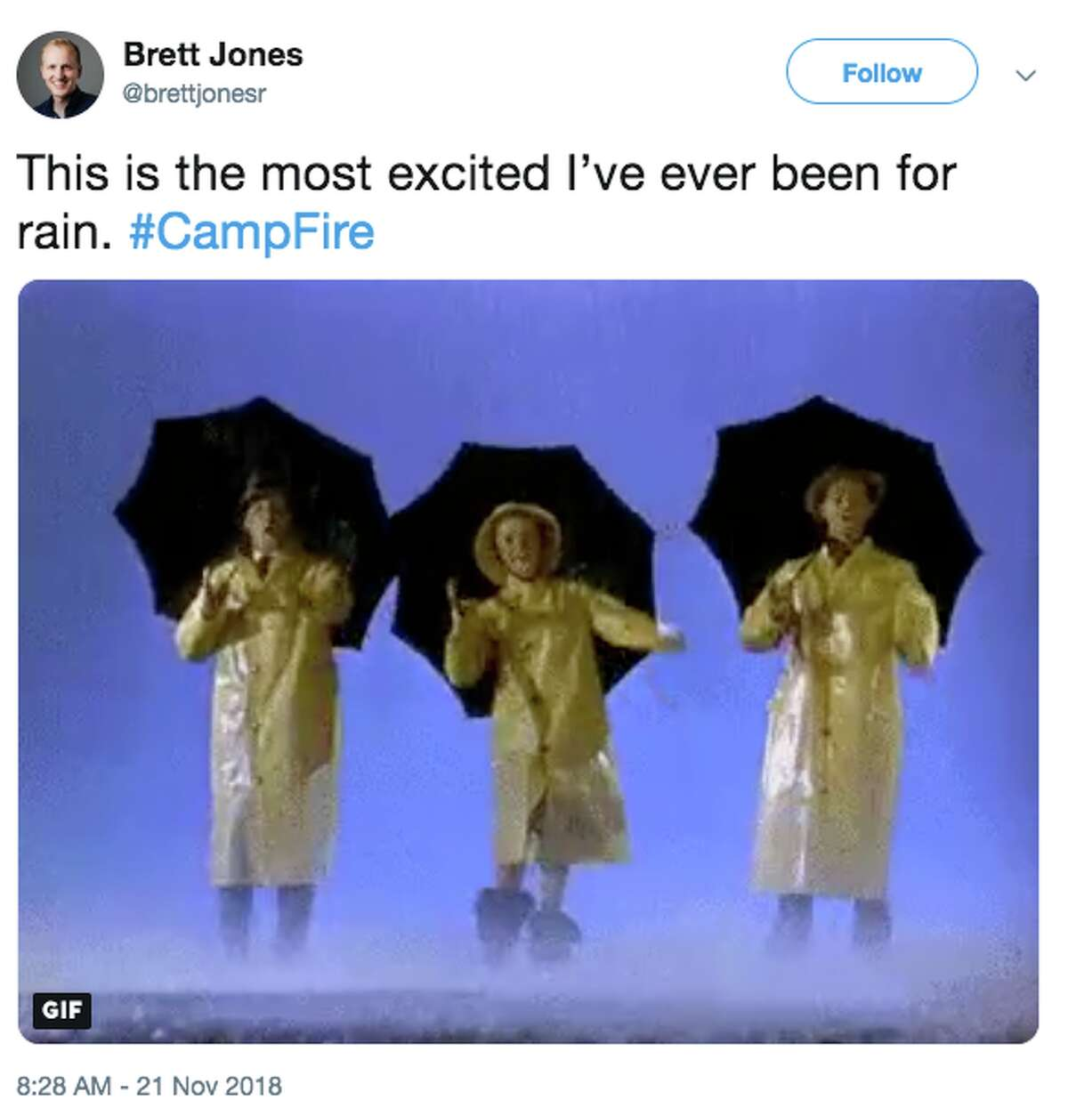 Northern California saw its first rain in seven weeks Wednesday morning, and when the drops began to fall, social media lit up with photos, videos and messages.