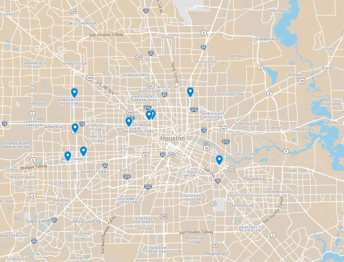 Multiple drivers reported speed traps in Houston over the last year on speedtrap.org, a website controlled by the National Motorists Association. The pins on the map show the nine most recent locations where police may be hidden in Houston.
