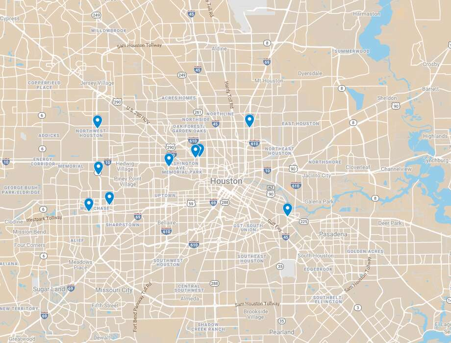 Multiple drivers reported speed traps in Houston over the last year on speedtrap.org, a website controlled by the National Motorists Association. The pins on the map show the nine most recent locations where police may be hidden in Houston.  Photo: Google Maps
