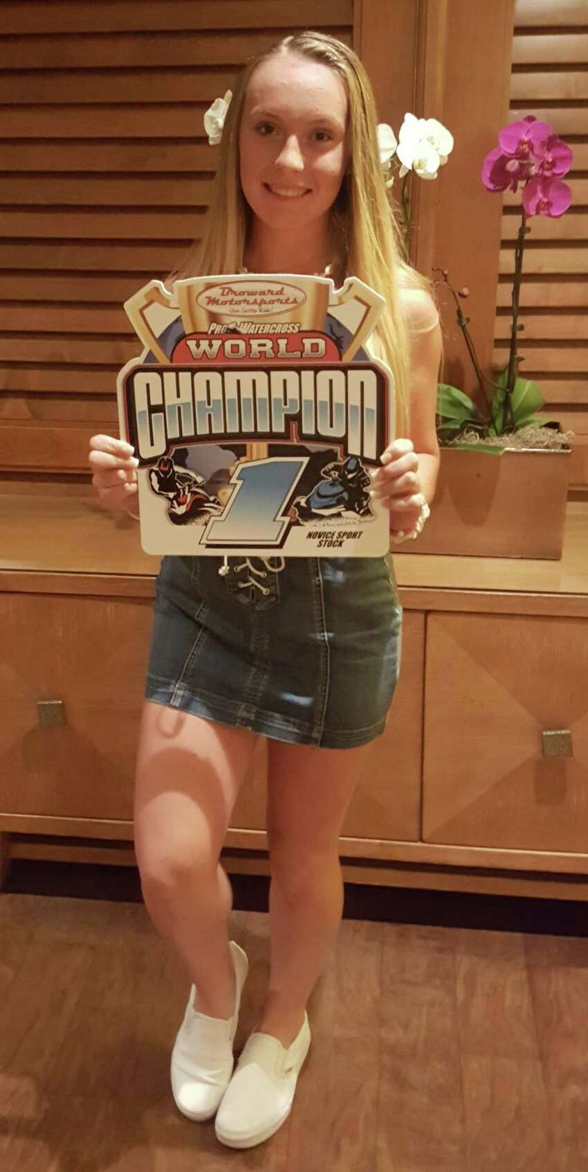 Rylee Grace O'Flaherty, 15, of Rotterdam, captured a jet ski championship in races held Nov. 1-4, 2018, in thePro Watercross World Championship in Naples, Florida. (Photo courtesy Jessica Waters Photography)