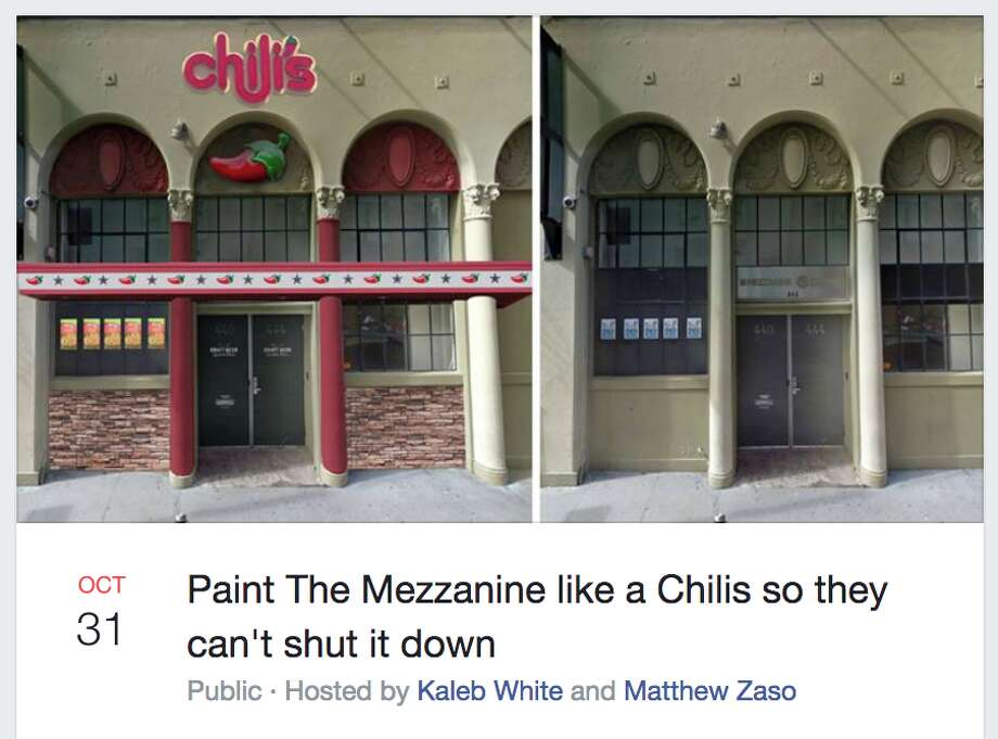 "A Facebook event suggests locals paint Mezzanine's exterior like a Chili's ""so they can't shut it down."" Photo: Facebook / Screenshot"