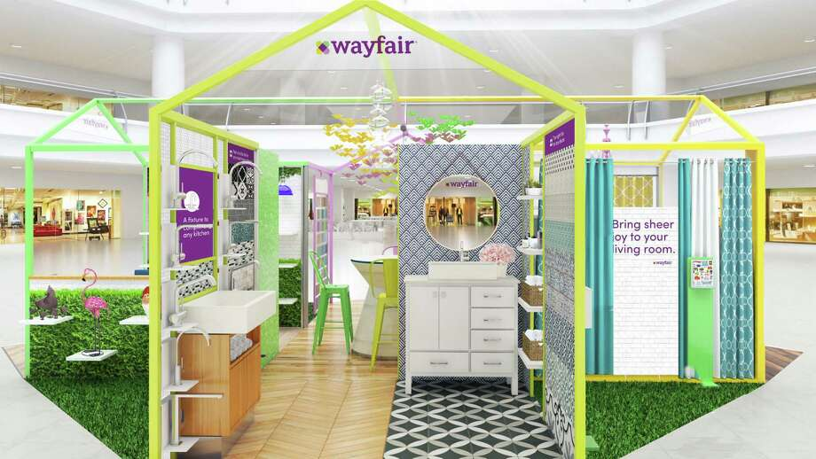 The design for Wayfair pop-up shops appearing in the 2018 holiday season at malls in New Jersey and Massachusetts. (Image via BusinessWire)