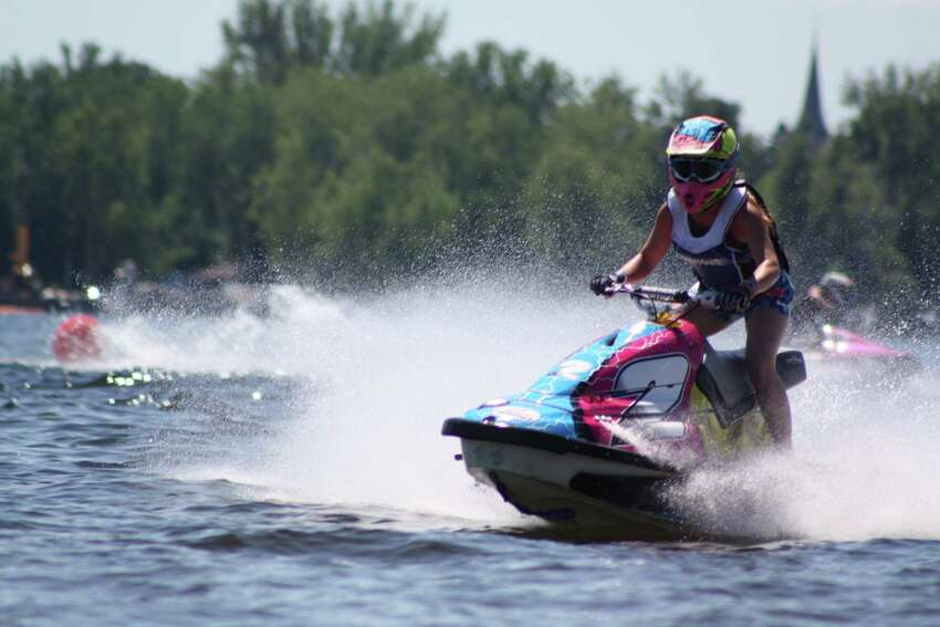 Rylee Grace O'Flaherty of Rotterdam during a Jet Ski Watercross race in 2017. She competes against men and women of all ages in the the novice division. The jet skis travel up to 50 miles per hour. (Courtesy Melvin Marsh photography)