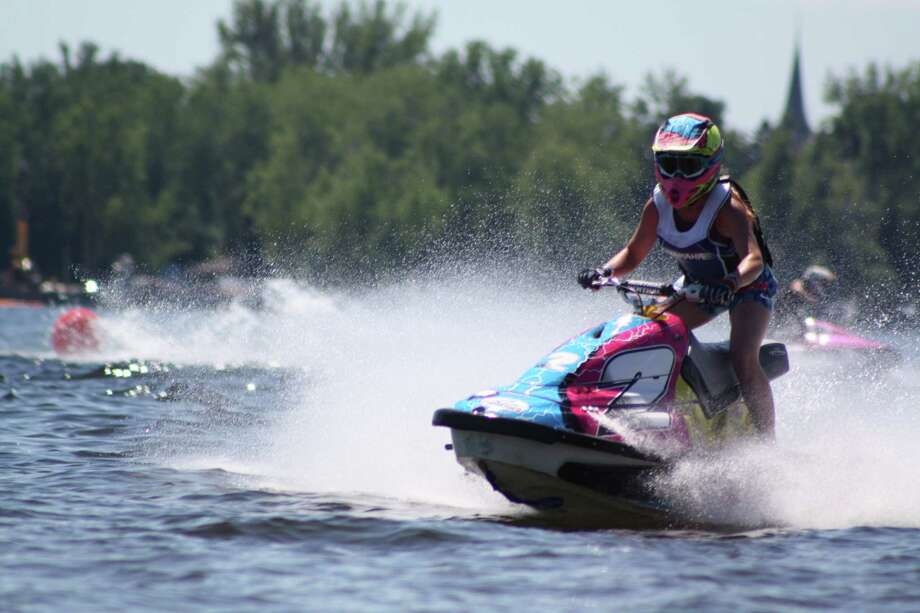 Rylee Grace O'Flaherty of Rotterdam during a Jet Ski Watercross race in 2017. She competes against men and women of all ages in the the novice division. The jet skis travel up to 50 miles per hour. (Courtesy Melvin Marsh photography) Photo: Melvin Marsh Photography, Provided
