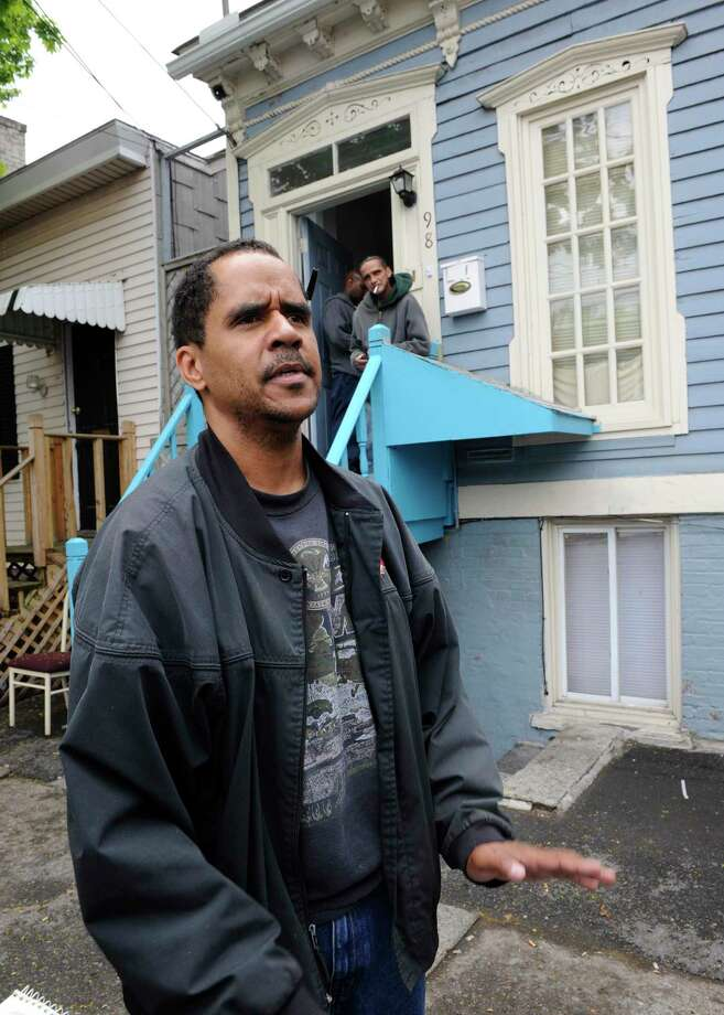 Miles Bailey stands in front of 98 Bradford Street where he is the landlord on May 7, 2009, in Albany, N.Y.,  where the alleged murder of Richard Hagin took place. Photo: SKIP DICKSTEIN, TIMES UNION