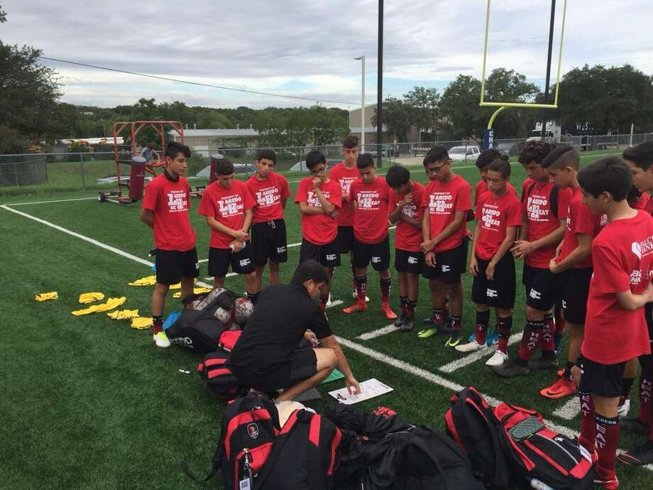 "The Laredo Heat SC's new Director of Coaching Jose Guillermo ""Memo"" Sifuentes works with the U15 team. Photo: Courtesy Of Laredo Heat SC"