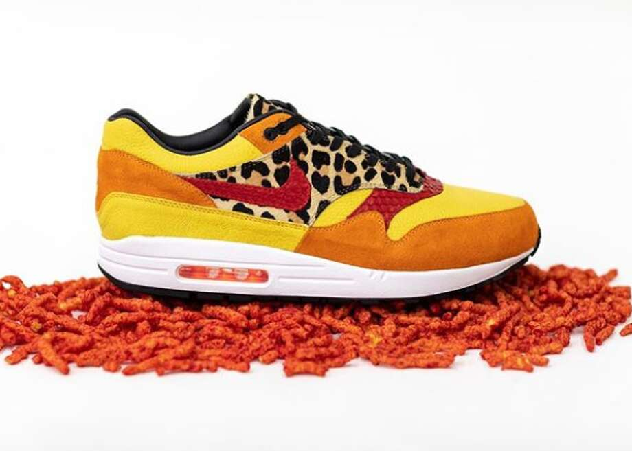 Starting Saturday at noon, for $1,000, shoe enthusiasts can start signing up on Jake Danklefs' website to pre-order the Flamin' Hot Air Max 1s, inspired by Chester the Cheetah. Photo: Courtesy, Jake Danklefs