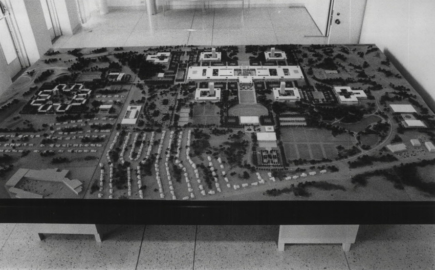 Continue viewing this gallery to see historical photos of UAlbany's uptown campus: State University of New York, Albany, done in scale, shows what the future portends in physical facilities. The model in the art gallery on the campus shows building across from Fuller Road at left with Stuyvesant Plaza, left foreground. Western Avenue runs in foreground with Washington Avenue in background. Towers and surrounding buildings provide housing; the rectangular unit is the academic area designed for an eventual 20,000 student population. Undated (Bud Hewig/Times Union Archive)