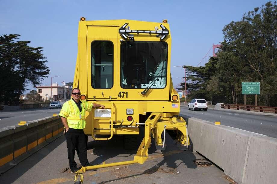 Golden Gate Bridge Zipper Truck operator Anthony D'Amico Photo: Golden Gate Bridge, Highway And Transportation District