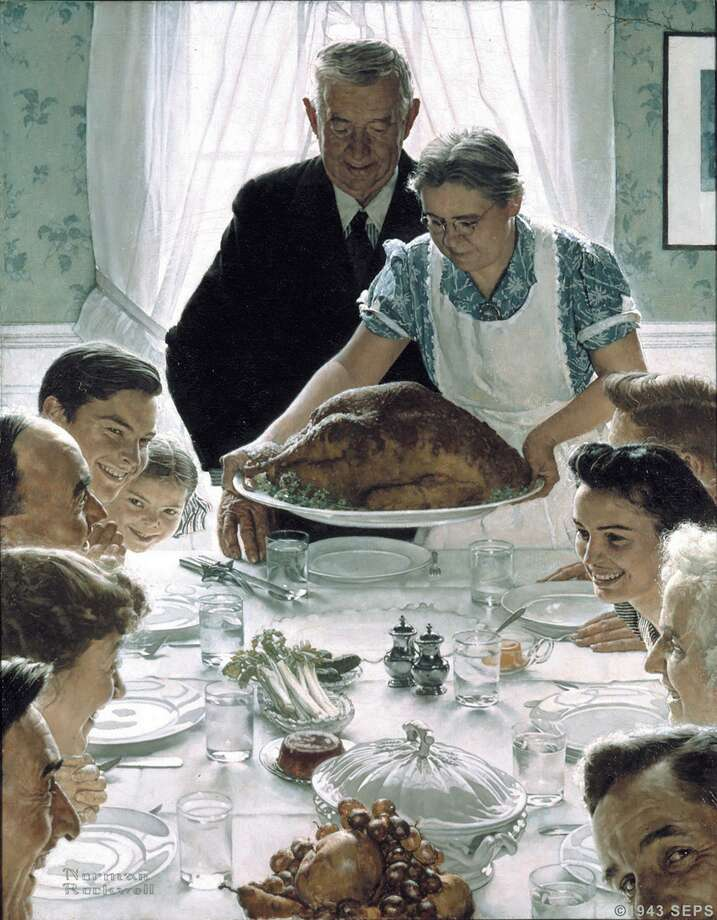 """Norman's Rockwell oil on canvas, """"Freedom from Want,"""" has become an iconic portrayal of Thanksgiving. Photo: AP / CORCORAN GALLERY"""