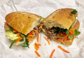 The pork meatball banh mi sandwich at Saigon Sandwich at 560 Larkin St.