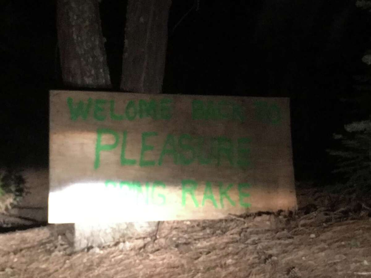 """Jokesters greeted residents returning to their homes in Paradise and Magalia with a sign that reads, """"Welcome to Pleasure, bring rake."""""""