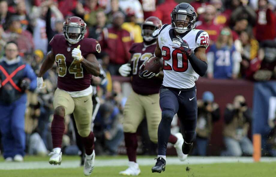 Houston Texans strong safety Justin Reid (20) returns an interception for a touchdown against the Washington Redskins in an NFL game, Sunday, November 18, 2018 in Landover, Md. (AP Photo/Daniel Kucin Jr.) Photo: Daniel Kucin Jr., FRE / Associated Press / AP2018