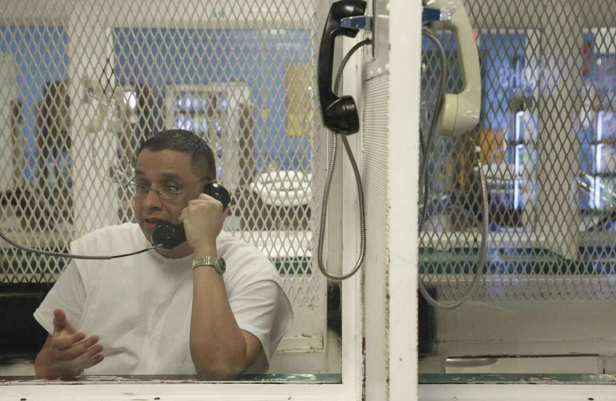Death row inmate Joseph Garcia - one of the notorious Texas Seven prison escapees - is photographed during an interview at Texas prison system's Polunsky Unit on Wednesday, Oct. 31, 2018, in Livingston north of Houston.