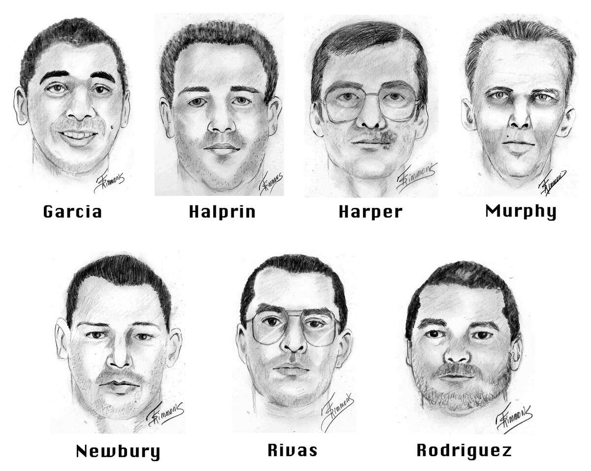 Prison inmates Joseph Garcia, Randy Halprin, Larry Harper, Patrick Murphy Jr., Donald Newbury, George Rivas, and Michael Rodriguez, seen in these 2001 artist sketches, escaped Dec. 13, 2000, from a prison near Kenedy in South Texas. Capital murder charges were filed against all seven convicts in the Dec. 24, 2000 killing of Irving Police Officer Aubrey Hawkins, 29, during a sporting goods store robbery.