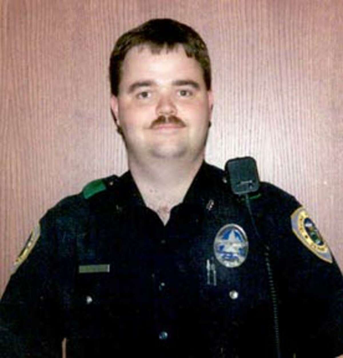 Irving Police officer Aubrey Hawkins, shown in this undated photo, was shot and killed as he responded to a robbery at a sporting goods store that had just closed on Christmas Eve, Dec. 24, 2000.