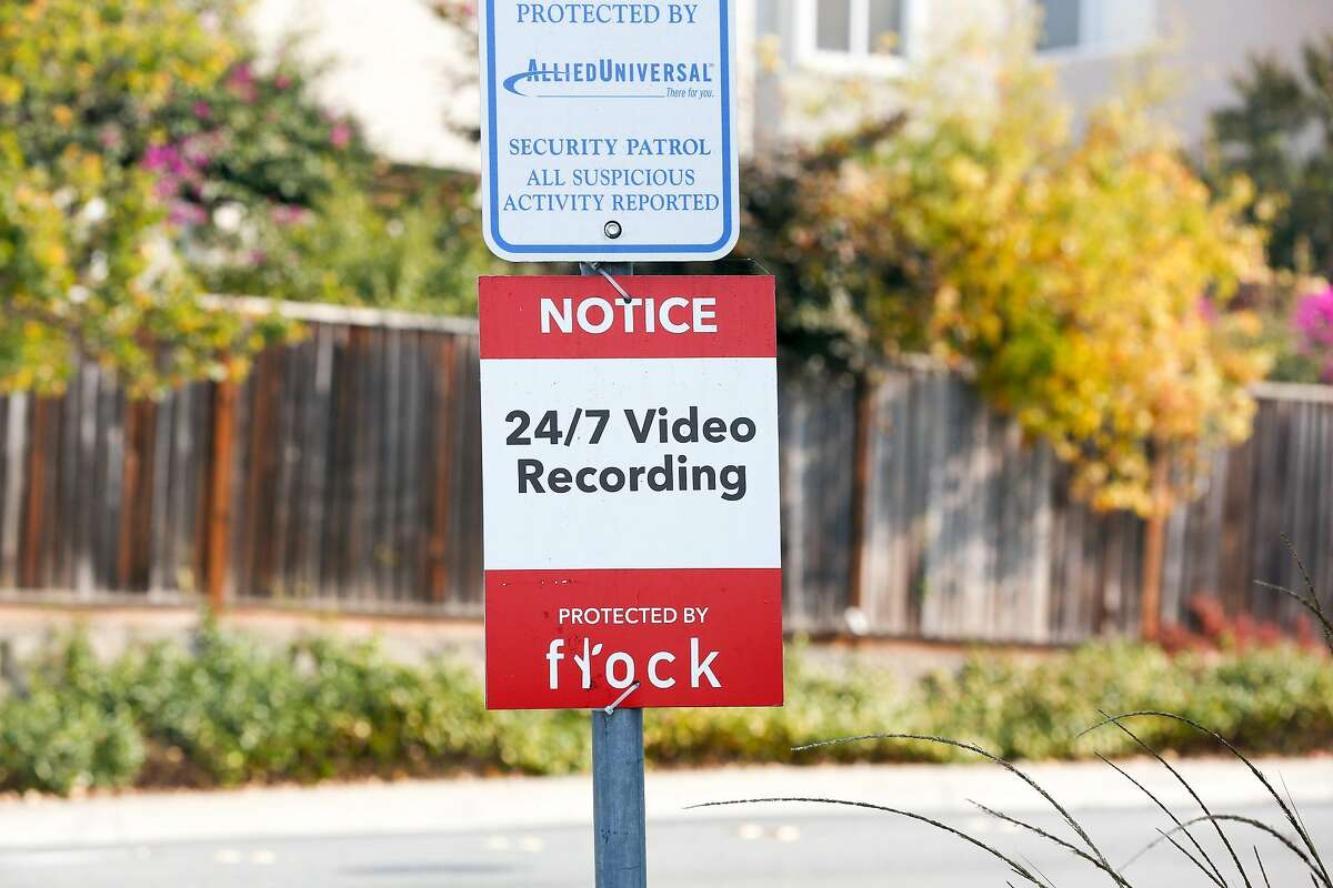 A sign put up by the Country Club Vista Homeowners Association warning of surveillance is seen on Monday, November 12, 2018 in Richmond, Calif.