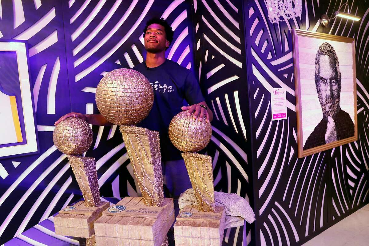 Golden State Warriors' Damian Jones at pop-up museum, Candytopia, on National Candy Day in San Francisco, Calif.. on Sunday, November 4, 2018.
