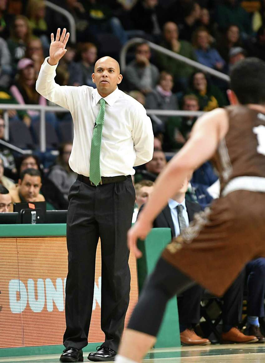 Siena's new head coach Jamion Christian communicates to his players during a basketball game against Lehigh at the Times Union Center on Wednesday, Nov. 21, 2018 in Albany N.Y. (Lori Van Buren/Times Union)