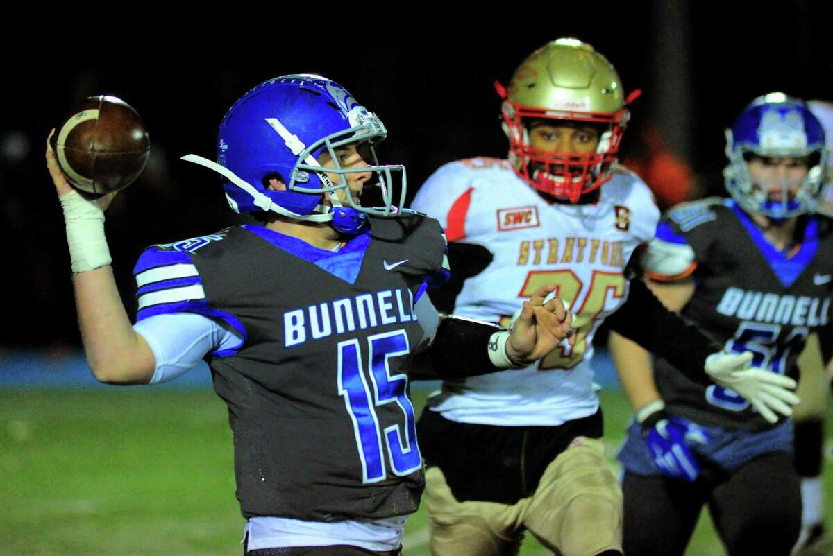 Bunnell QB Brian Carrafiello during Thanksgiving holiday football action against Stratford in Stratford, Conn., on Wednesday Nov. 21, 2018.