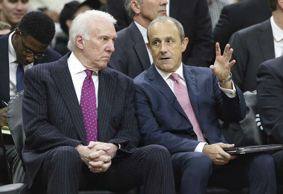 Spurs head coach Gregg Popovich (left) and Assistant Coach Ettore Messina talk during the Spurs game against the Memphis Grizzlies at the AT&T Center on Wednesday, Nov. 21, 2018. (Kin Man Hui/San Antonio Express-News) Photo: Kin Man Hui, Staff Photographer / San Antonio Express-News / ©2018 San Antonio Express-News