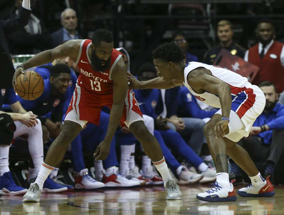 PHOTOS: Rockets vs. Pistons Houston Rockets guard James Harden (13) is defensed by Detroit Pistons forward Stanley Johnson (7) during the fourth quarter of the NBA game at Toyota Center on Wednesday, Nov. 21, 2018, in Houston. The Houston Rockets defeated the Detroit Pistons 126-124. >>>See more game action from the Rockets' game against the Pistons on Wednesday ... Photo: Yi-Chin Lee/Staff Photographer