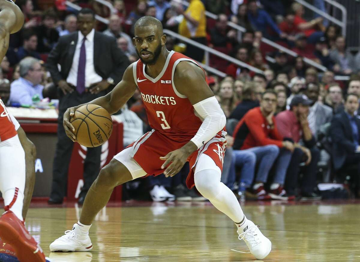 Houston Rockets guard Chris Paul (3) dribbles during the second quarter of the NBA game against the Detroit Pistons at Toyota Center on Wednesday, Nov. 21, 2018, in Houston.