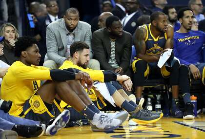 f45b2db8852 Golden State Warriors' Klay Thompson, Damian Jones, DeMarcus Cousins,  Draymond Green, Andre Iguodala and Shaun Livingston react in 4th quarter of  loss to ...