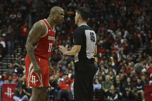 Houston Rockets forward PJ Tucker (17) complains bad officiation to referee Ben Taylor during the third quarter of the NBA game against the Detroit Pistons at Toyota Center on Wednesday, Nov. 21, 2018, in Houston. The Houston Rockets defeated the Detroit Pistons 126-124. Tucker was called two technical fouls and ejected.