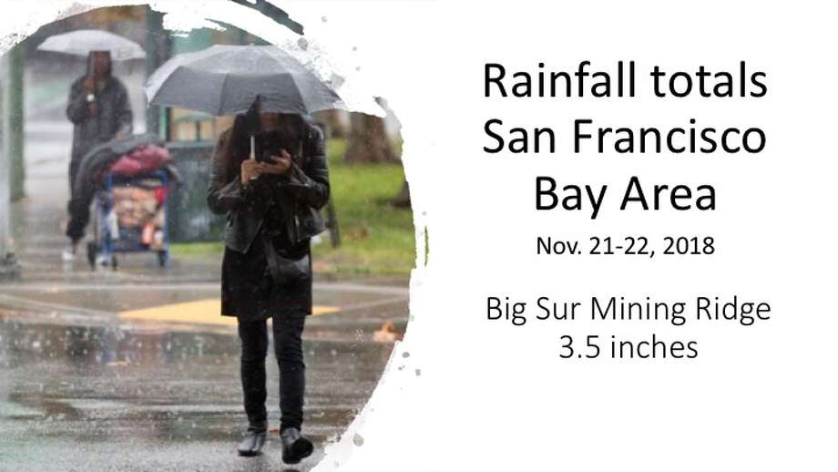 The first storm in November 2018 brought much-needed rain to the San Francisco Bay Area. Here are some rainfall totals. Photo: SFC