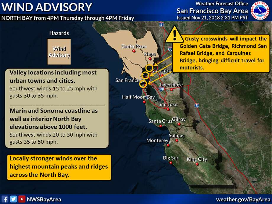 The National Weather Service issued an advisory warning of widespread gusty conditions throughout the Bay Area from 4 p.m. Thursday through 4 p.m. Friday. Photo: National Weather Service