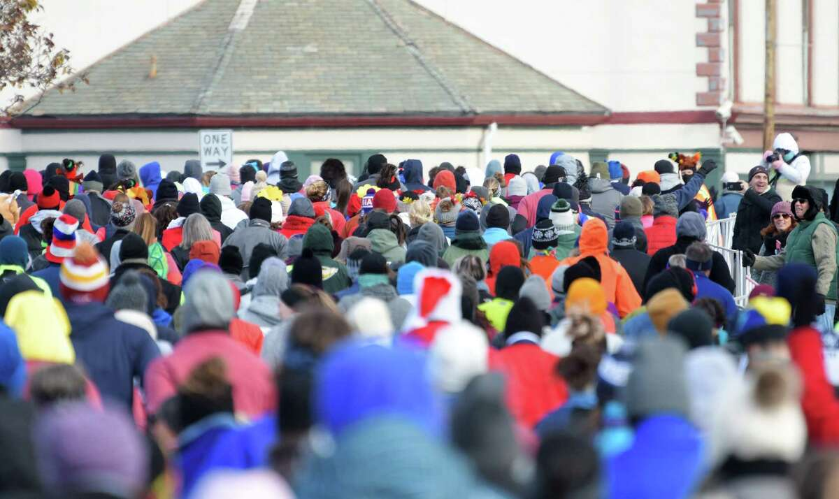 Runners make their way along the course in the 5K race at the Troy Turkey Trot on Thursday, Nov. 22, 2018, in Troy, N.Y. (Paul Buckowski/Times Union)