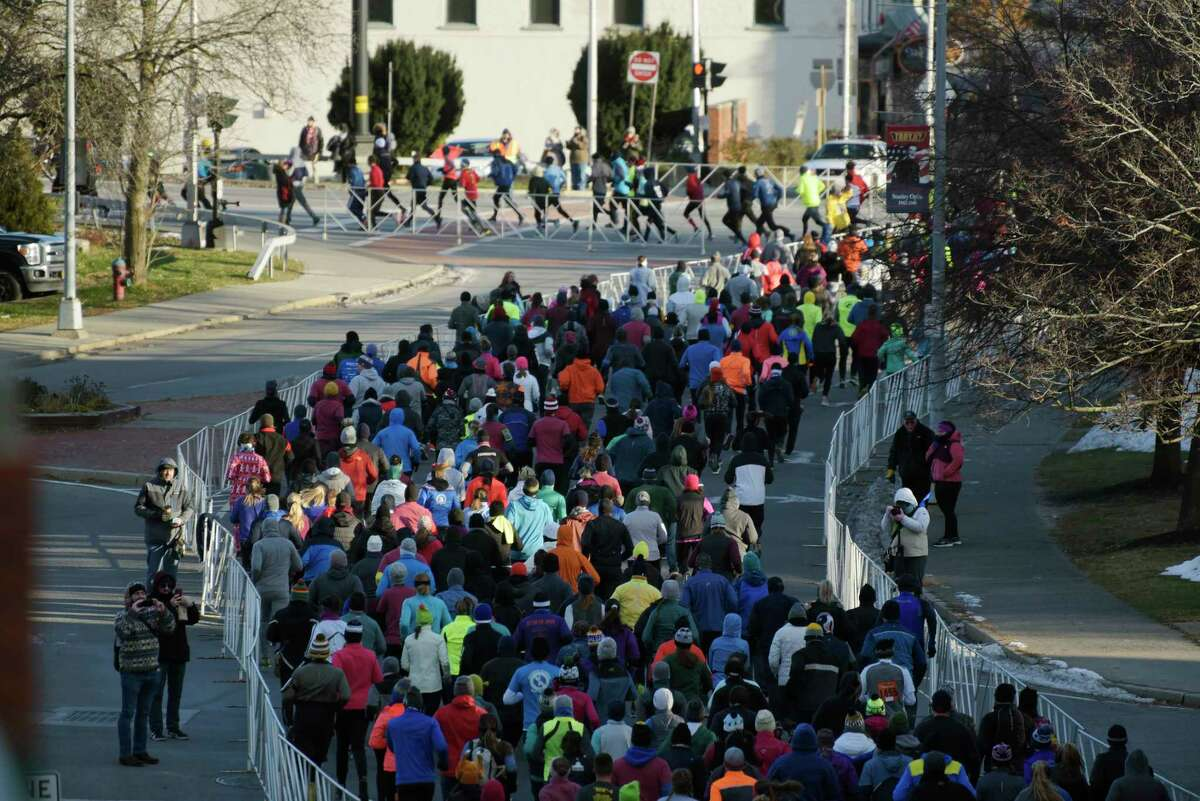 Runners make their way along the 10K course during the Troy Turkey Trot on Thursday, Nov. 22, 2018, in Troy, N.Y. (Paul Buckowski/Times Union)