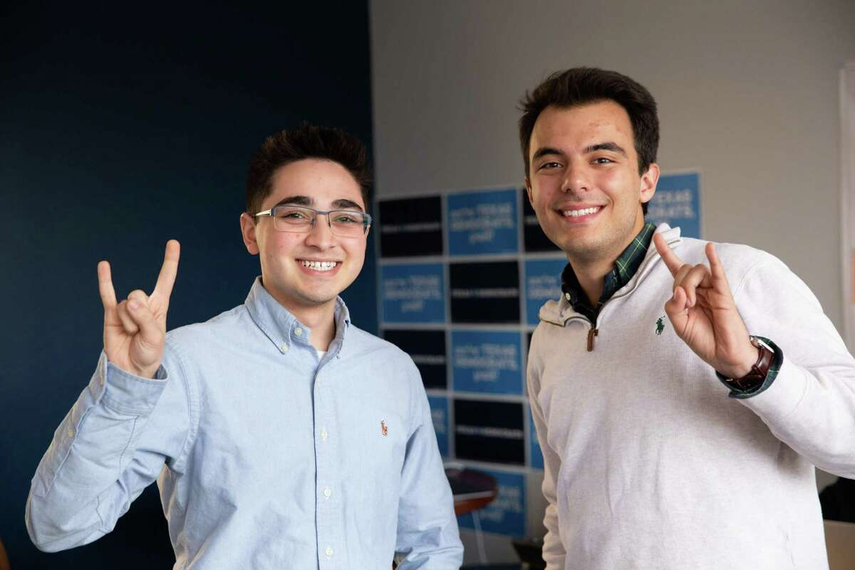 Ali Zaidi (left) and Jared Hrebenar, 19-year-old sophomores at UT Austin, work on a digital plan at the Texas Democratic Party Headquarters Monday, Nov. 19, 2018 in Austin.