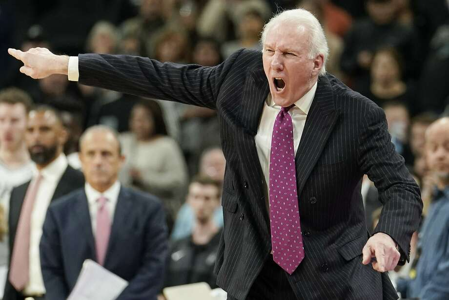 San Antonio Spurs coach Gregg Popovich yells to his players during the second half of an NBA basketball game against the Memphis Grizzlies, Wednesday, Nov. 21, 2018, in San Antonio. Memphis won 104-103. (AP Photo/Darren Abate) Photo: Darren Abate, Associated Press