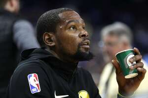 Golden State Warriors' Kevin Durant before 123-95 loss to Oklahoma City Thunder during NBA game at Oracle Arena in Oakland, Calif. on Wednesday, November 21, 2018.