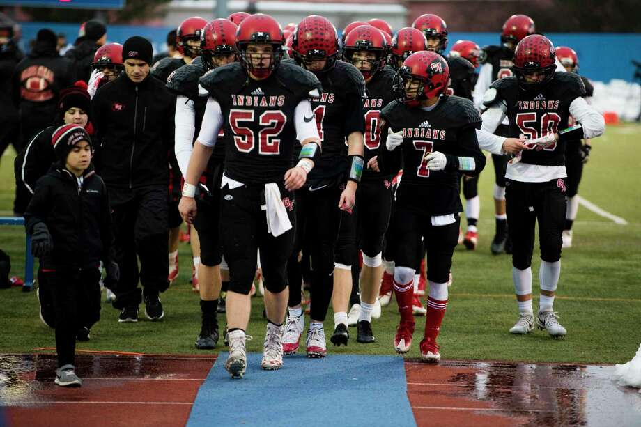 The Glens Falls football team returns to the locker room at halftime during the Class B semifinal game against Marlboro at Middletown High School in Middletown, New York, on Saturday, Nov. 17, 2018. Glens Falls defeated Marlboro 48-28 to advance to the state championship game. (Ben Moffat/Special to the Times Union) Photo: Ben Moffat / Ben Moffat