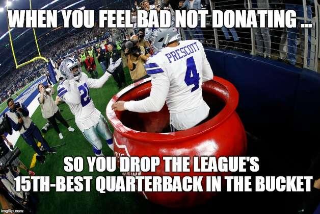 Dallas Cowboys Week 12: Cowboys 31, Washington 23 The Cowboys beat Washington on Thanksgiving Day and Ezekiel Elliott threw his quarterback in the Salvation Army bucket. Photo: Matt Young
