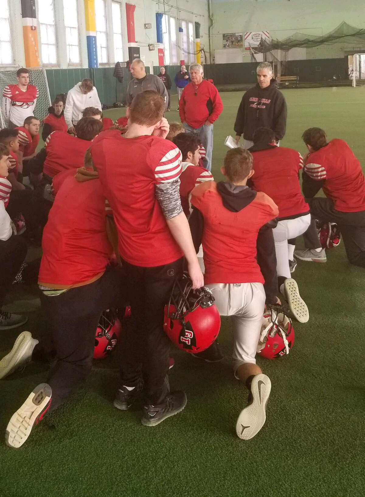 Glens Falls football coach Pat Lilac speaks to the team following their Thanksiving day practice at the Chase Sports Complex in South Glens Falls on Thursday, November 22, 2018. (James Allen / Times Union)