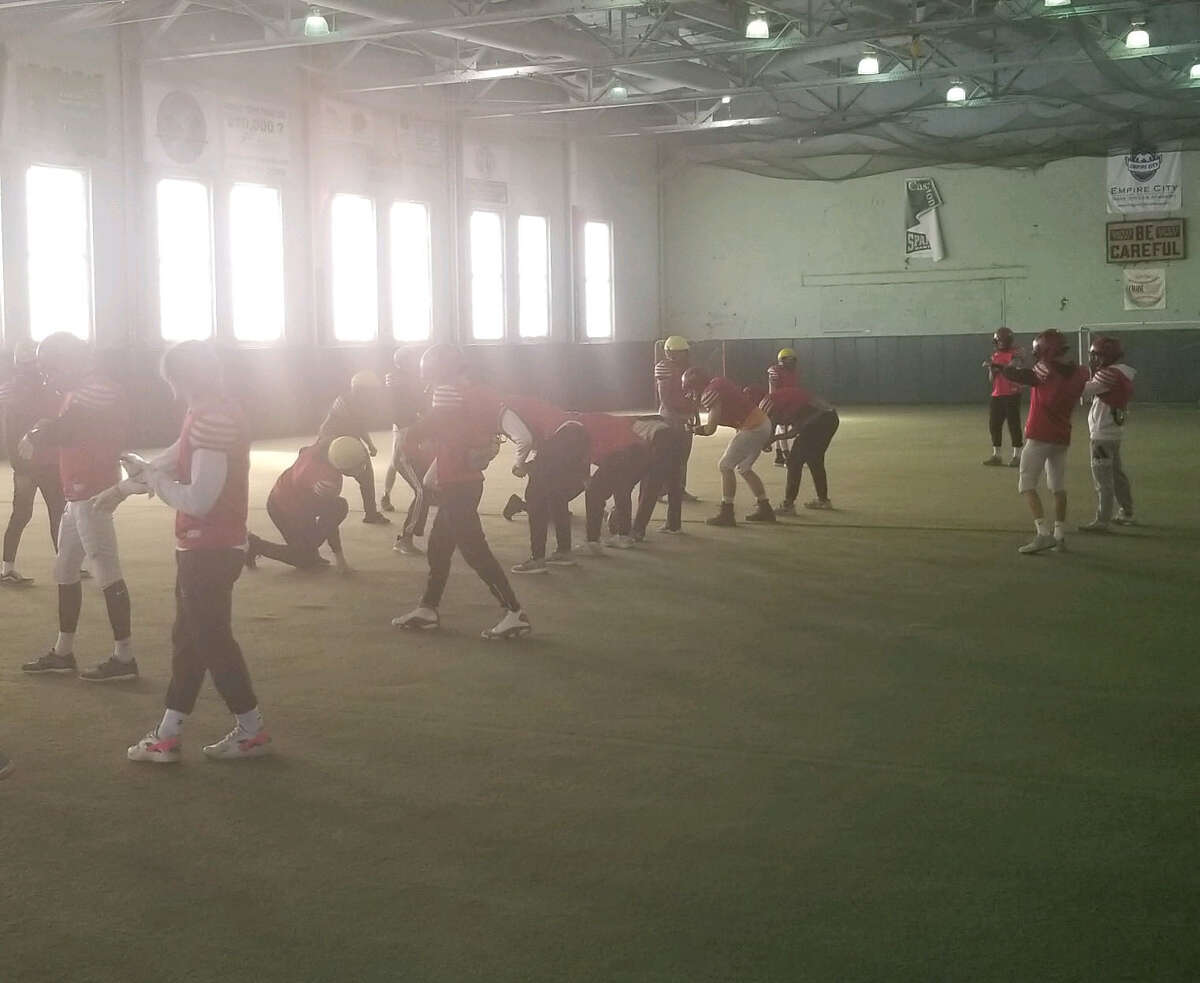 The Glens Falls football team prepares for a Class B title game at the Chase Sports Complex in South Glens Falls on Thursday, November 22, 2018. (James Allen / Times Union)