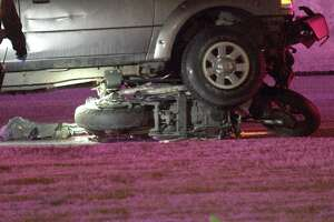 The driver was traveling in a Ford Ranger pickup truck at about 3:40 a.m. on Interstate 10 near La Cantera Parkway when they slammed into the motorcycle, which was carrying a male driver and female passenger.