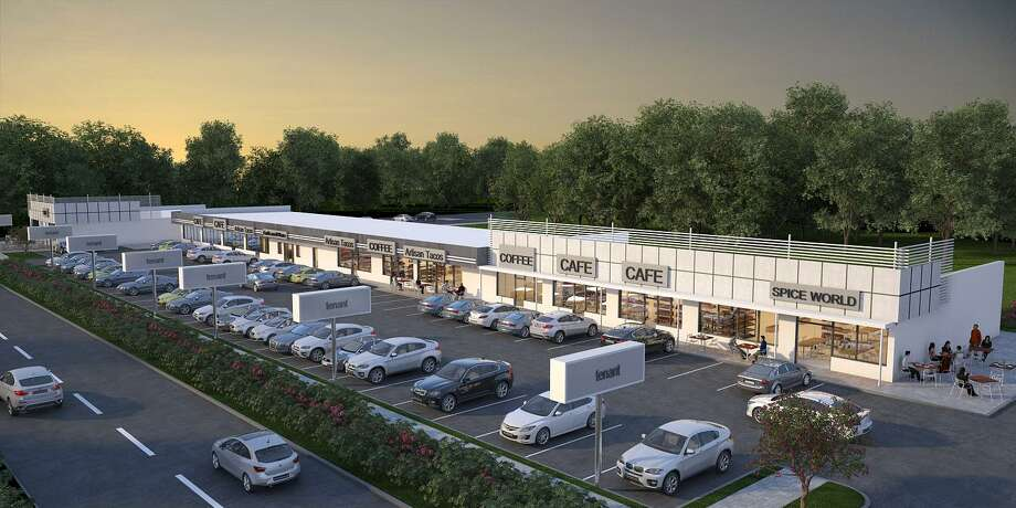 A rendering of Shepherd Row in The Heights shows what the 18,506-square-foot shopping center at 1002 N. Shepherd will look like after renovations by Braun Enterprises. Photo: Braun Enterprises