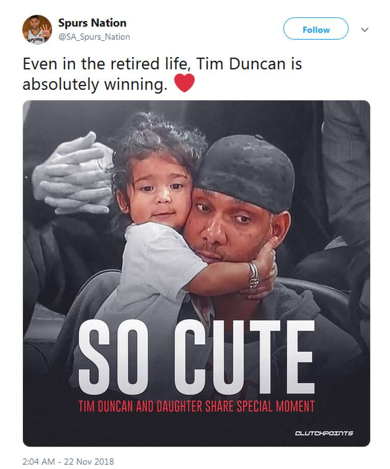 @SA_Spurs_Nation: Even in the retired life, Tim Duncan is absolutely winning. Photo: Twitter Screengrabs