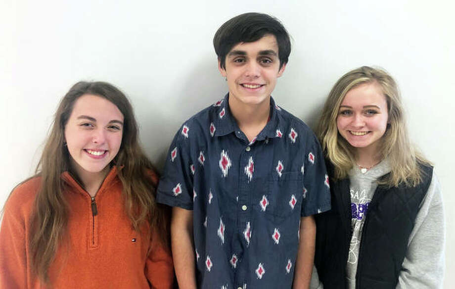 "Anna Bruss, left, River Johnson, center, and Leta DeBardeleben, EHS Drama Club students, pose ahead of the EHS Christmas Play entitled ""Parker's No Present Problem."" The Christmas show is at 2 p.m. on Dec. 8 in the EHS auditorium, and is written, produced and directed entirely by the EHS students and is a popular annual event for youngsters in the area. Photo: For The Intelligencer"