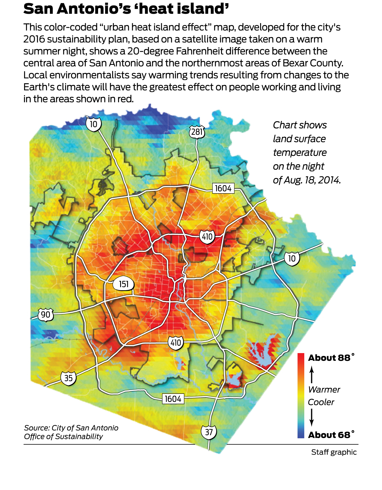 Heat map of San Antonio conveys what's at stake in climate ... San Antonio Map on south tx map, district of columbia map, united states map, honolulu map, usa map, salt lake city map, bexar county map, virginia city map, texas map, poteet tx map, galveston map, converse map, nacogdoches map, ozona tx map, indianapolis map, brazos river map, monterrey map, santa fe map, los angeles map, lackland air force base map,
