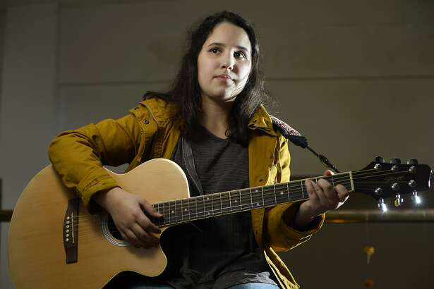 Sydney Burrows, a 17-year-old Port Neches-Groves High School student, is a singer-songwriter who performs at local open mic nights. Photo taken Tuesday 11/13/18 Ryan Pelham/The Enterprise