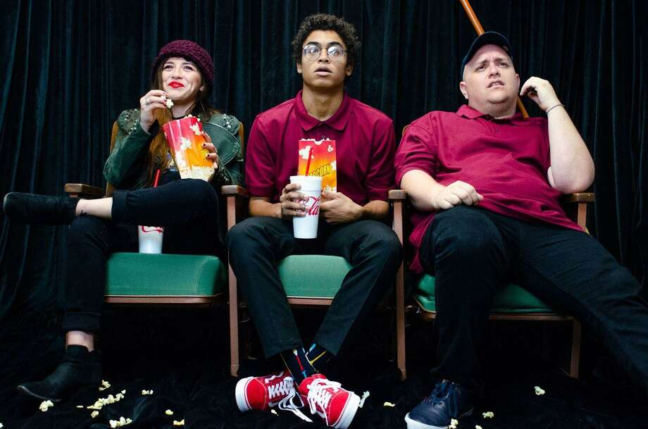 "Avery Padilla, left, Antonio Lasanta and Greg Cote perform in Horse Head Theatre's production of ""The Flick."""