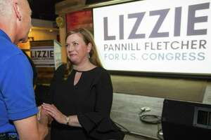 Rep. Lizzie Pannill Fletcher greets supporters as they celebrate her win over John Culberson in the race for the 7th Congressional District seat on Nov. 7 in Houston.